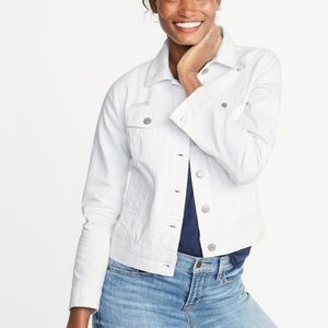 Old Navy Distressed White Denim Jacket Size L